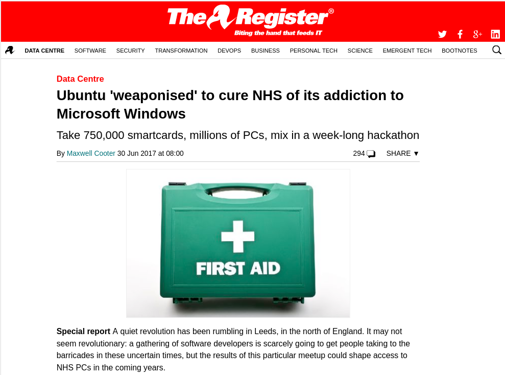 The Register NHSbuntu article.
