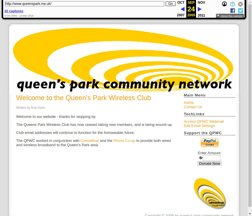 Queen's Park Community Network homepage, source: Internet Archive